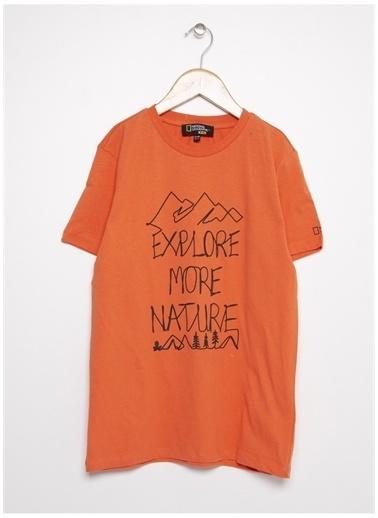 National Geographic National Geographic Erkek Çocuk TuruncuBisiklet Yaka T-Shirt Oranj